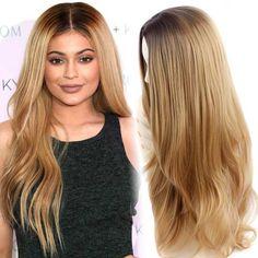 Synthétique Perruques pour Femmes Noires Long Bouclés Synthétique Perruques Blonde Ombre Cheveux De Mode Synthétique Naturel Perruque De Cheveux Résistant À La Chaleur