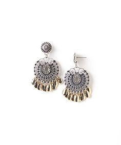 Look what I found on #zulily! Two-Tone Textured Filigree Drop Earrings #zulilyfinds
