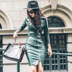 Осень из искусственной кожи на молнии Кожаные модельные туфли Для женщин модное платье три четверти рукав зеленого по колено пикантные платье Vestido De Festa купить на AliExpress