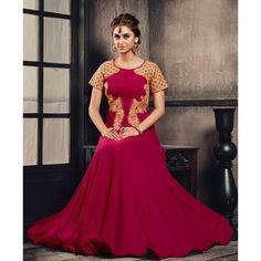 Pink Net Designer #Anarkali Suits With Dupatta- $43.58