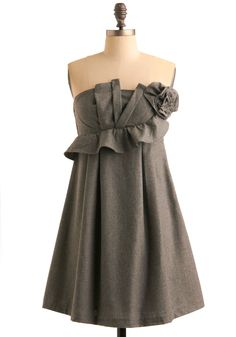 pretty gray dress.  Would look so cute with black stockings and black pearls. $109.99
