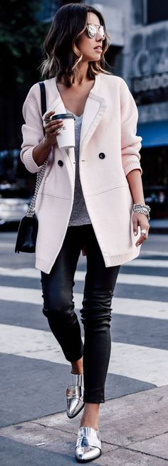 Blush Coat On Gray, Black And Silver Fall Street Style Inspo by Vivaluxury