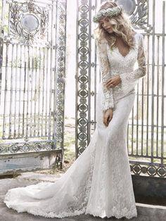 Trumpet/Mermaid V-neck Ivory Open Back Lace Long Sleeve Wedding Dress in UK