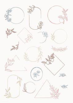 Botanical frame element vector collection premium image by Bullet Journal Aesthetic, Bullet Journal Inspiration, Doodles, Floral Logo, Doodle Art, Drawings, Illustration, Brand Logo Design, Design Design