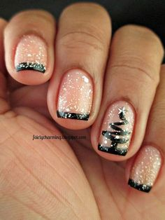 add glitter     36 Sparkling Nail Designs for Christmas Party