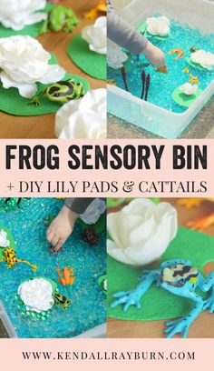 Frog Sensory Bin + DIY Lily Pads & Cattails! Looking for a fun & simple craft to do with your kiddos this weekend? Check out this adorable FROG SENSORY BIN!  #AD #OurCaringHands #SoftsoapTouch  http://www.kendallrayburn.com/2017/06/frog-sensory-bin/