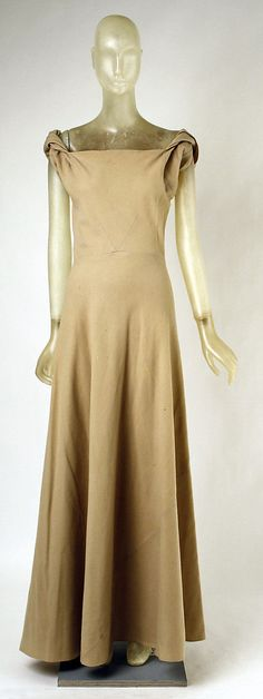Evening Dress, Madeleine Vionnet (French, Chilleurs-aux-Bois 1876–1975 Paris): 1934-1935, French, wool.