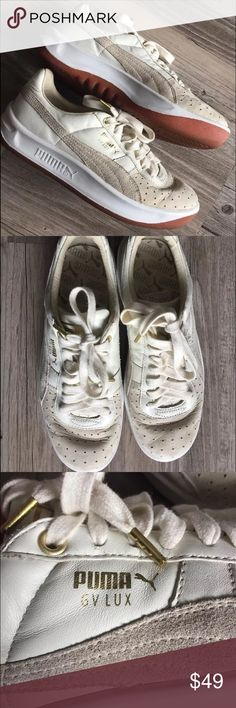 Puma GV LUX Vintage Rare Trainers White Ivory Gold Puma GV LUX Vintage Rare Dead stock Trainers Sneakers Ivory Gold Size US 7 EU 39 Puma Shoes Sneakers
