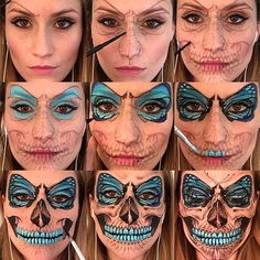 Step by Step Flutter Skull make up - unique look this Halloween Special Makeup, Special Effects Makeup, Horror Make-up, Fantasy Make Up, Halloween Makeup Looks, Facepaint Halloween, Butterfly Halloween Costume, Halloween Halloween, Theatrical Makeup