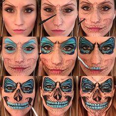 Step by Step Flutter Skull Makeup #facepainting #facepaint #faceart #butterfly…