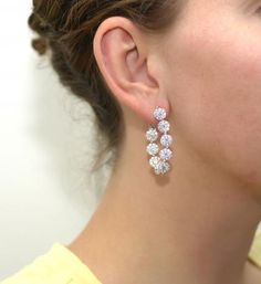 Jye's 7.75ctw Diamond Hoop Earrings Diamond Hoop Earrings, Diamond Jewelry, 4 Diamonds, Birthstones, Jewelry Design, White Gold, Jewels, Luxury, Pretty