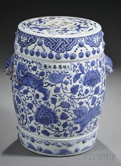 I am in the market for some pretty blue and white ceramic garden seats for my living room. These fine examples were sold by Skinner Auctio...