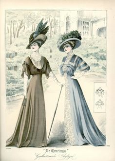 Women S Fashion Dresses Online Edwardian Era Fashion, Edwardian Clothing, 1900s Fashion, Historical Clothing, Vintage Fashion, French Fashion, Gothic Fashion, Ladies Fashion, Gravure Illustration