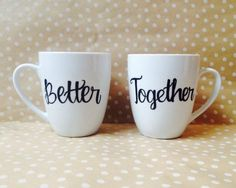 Items similar to Better Together // Couples Coffee Mug Set // Calligraphy mugs // Cute Unique Couples Gift // Valentines Day Gift on Etsy Better Together // Couples Coffee Mug Set // Coffee Cup // Cute Unique Couples Gift // Valentines Day Gift Couples Coffee Mugs, Couple Mugs, Coffee Mug Sets, Funny Coffee Mugs, Mugs Set, Coffee Cups, Couple Gifts, Diy Becher, Unique Gifts For Couples