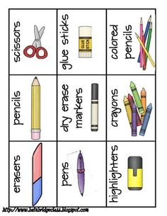 Classroom supply labels and project direction cards free school supplies, classroom supplies, classroom fun Kindergarten Classroom Decor, Classroom Labels, Classroom Organisation, Classroom Supplies, New Classroom, Teacher Organization, Organizing, Classroom Rules, Classroom Management