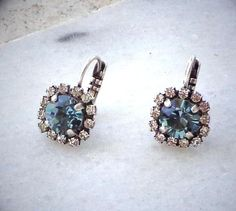 Swarovski  crystal 8mm  indian sapphire  fancy  stone leverback drop earrings on ebay by elenamaratos