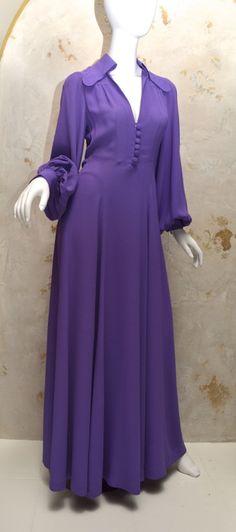 Ossie Clark Purple Moss Crepe Gown Vintage 1970's London