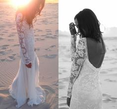 Bohemain stijl strand trouwjurk met lange gehaakte mouwen