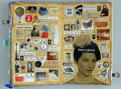 """Smash book page : """"What's in your head"""". Journal D'art, Creative Journal, Art Journal Pages, Art Journals, Happy Journal, Journal Ideas, Sketchbook Inspiration, Art Sketchbook, Altered Books"""