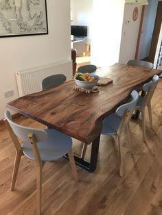 A beautiful example of a live edge dining table delivered to North West Scotland. in the dark end of the elm spectrum table Live Edge Elm Dining Table on Box Steel Legs — Paul Frampton Design Ltd Wooden Dining Table Designs, Wood Slab Table, Wood Table Design, Wooden Dining Tables, Dining Room Design, Kitchen Design, Steel Table, Natural Wood Dining Table, West Elm Dining Table