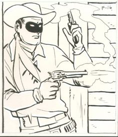 The Lone Ranger and Tonto Coloring Page sheets - Lone Ranger shooting - Free Printable TV and Movie Coloring Pages Horse Coloring Pages, Coloring Pages For Kids, Adult Coloring, Kids Coloring, Comic Book Artists, Comic Artist, Comic Books, Alex Toth, Vintage Coloring Books