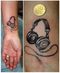 Headphones tattoo - mine don't need to be this intricate so maybe they can be a bit smaller?