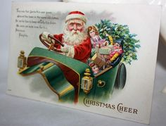 Antique Embossed Postcard Santa Claus in a car by onestrangegirl, $26.00