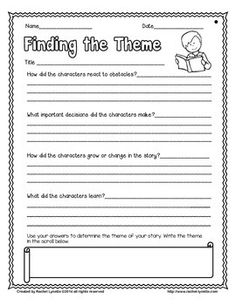 Theme is such a challenging skill to master! Here is a freebie that you can use with any story to help your students do just that. The first printable requires students to answer questions about how the character thinks and acts to find clues about the theme.
