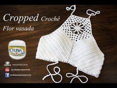 Cropped de Crochê | Flor vasada | Professora Simone Eleotério | TAM PP P...