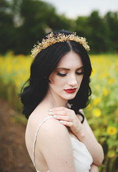 Enchanting crown, bold red lip, dramatic bride // Stephanie Parsley Photography