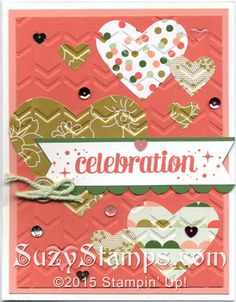 Stampin' Up! Cards - 2015-01 Class - Project Life Remember This stamp set, Gold Soiree Specialty Designer Series Paper, Hearts Collection Framelits Dies, Arrows Embossing Folder, Scallop Edge Border Punch, Itty Bitty Accents Epoxy Stickers
