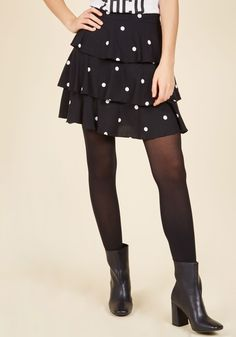 Motivated Moxie Mini Skirt | Mod Retro Vintage Skirts | ModCloth.com  Nothin' revs you up for the day ahead like the playful white dots and peppy tiers of this black mini skirt by Motel. So, outfit it up with sass and step out to celebrate your style!