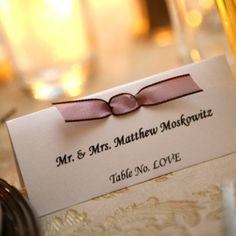 I like the ribbon on the place cards