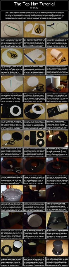 top hat how to diy tutorial steampunk Hat Tutorial, Cosplay Tutorial, Cosplay Diy, Tutorial Sewing, Steampunk Hut, Steampunk Costume, Steampunk Outfits, Steampunk Dolls, Steampunk Vetements