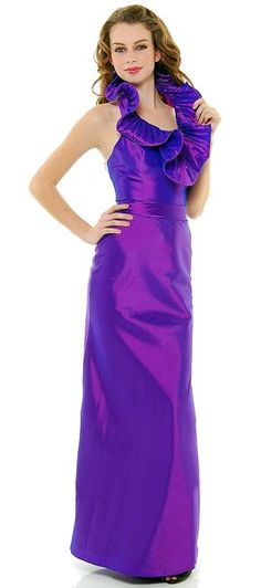 Full Length Formal Dress Purple Large Ruffle Collar Fitted Taffeta Gown $79.99