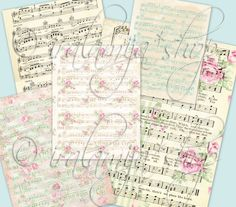 """MUSIC SHEET  8.5"""" x 11"""" backgrounds Collage Digital Images -printable download file- digital download shabby chic images for cards paper backgrounds floral papers digital floral paper shabby chic paper vintage floral digtial scrapbook roses pink Music Sheet printable musicsheet iralamijashop 4.50 USD"""
