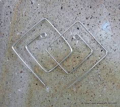 Double Square 925 Sterling Silver Earrings          Item 309