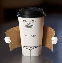 コーヒーの紙コップへの落書きがくだらなすぎて笑えるwww