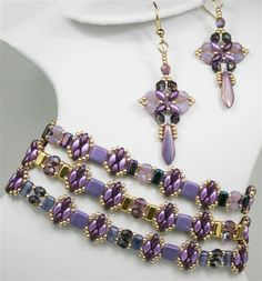 Radiant Orchid Earrings and Stackable Bracelets | http://www.redpandabeads.com/category_s/2531.htm