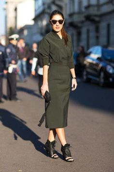 37 ways to wear head-to-toe color: a street style look of deep, olive green.