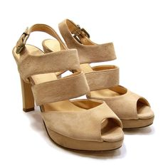 J.Crew Womens Nude Suede Strappy Heel Sandals Size 7 Peep Toe #JCrew #Strappy #Casual