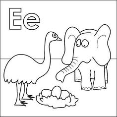 Free Letter E Coloring Page Online And Printable Alphabet Pages To Help Kids Learn Their Letters Elephant Emu Eggs All Begin With The
