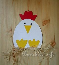 Kinderbasteln - Handicrafts for Easter - Henne Fensterb . Kinderbasteln – Handicrafts for Easter – Hen Fensterbild Easter Art, Easter Crafts For Kids, Toddler Crafts, Monkey Crafts, Farm Animal Crafts, Chicken Crafts, Hen Chicken, Farm Art, Daycare Crafts