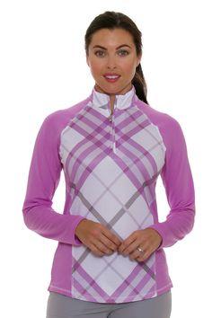 SanSoleil Women's SolTek Prestwick Orchid Zip Mock Sun Shirt