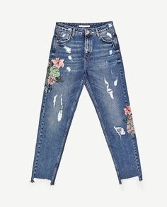 Image 8 of HIGH-RISE EMBROIDERED MOM FIT JEANS from Zara