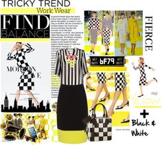 """""""Tricky Trend Yellow + Black & White work wear."""" by the-freckled-gypsy ❤ liked on Polyvore"""