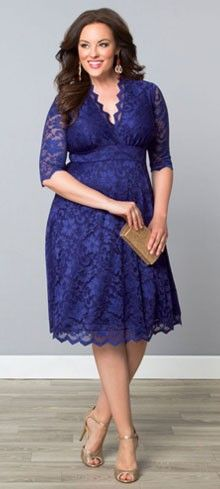 Plus Size Sapphire Blue Scallop Lace Mademoiselle Dress