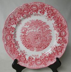 Romantic Staffordshire Plate Red Transferware English China Plate The Courtship Valentines Day