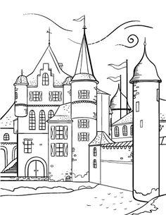 Printable castle coloring page. Free PDF download at http://coloringcafe.com/coloring-pages/castle/