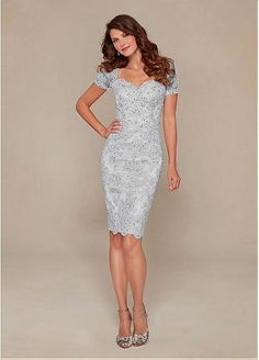 Elegant Sheath Queen Anne Neckline Knee-length Mother of the Bride Dresses with Lace Appliques